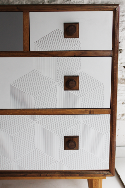 close-up-grey-oak-chest-retro-formica-upcycled-lucy-turner-geometric