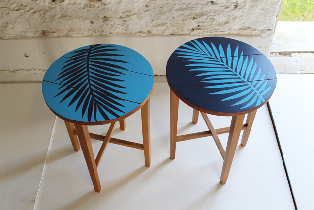 Beau ... Navy Blue Formica Retro Colourful Side Tables By  ...