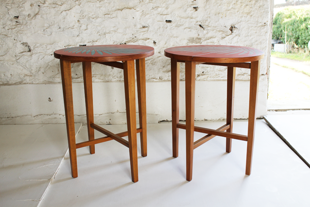 red-pair-of--formica-tables-with-palm-leaf-design-by-lucy-turner