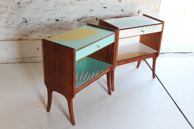 palm-leaf-bedside-tables-turquiose-andf-white-modernmarquetry