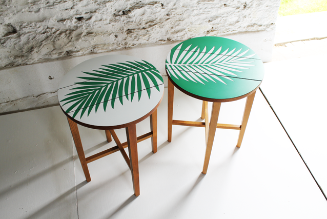 tropical-white-and-green--palm-leaf-furniture-tables-by-lucy-turner