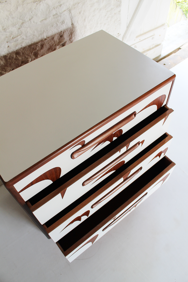 g-plan-teak-chest-of-drawers-white-fomrica-bird-motif