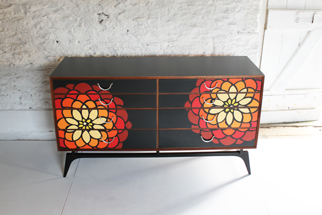dahlia-floral-furniture-chest-of-drawers-black-red-ornage-lucy-turner