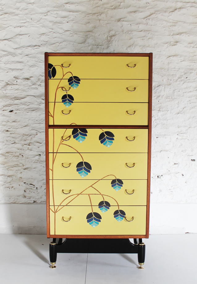 blue-chest-of-drawers-yellow-bedroom-inspiration-lucy-turner-laser-cut-formica