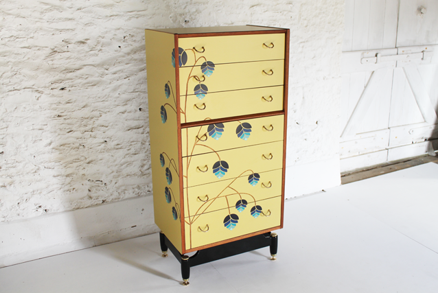 pale-yellow-chest-ber=droom-furniture-tall-chest-of-drawers-lucy-turner-laser-cut-formica